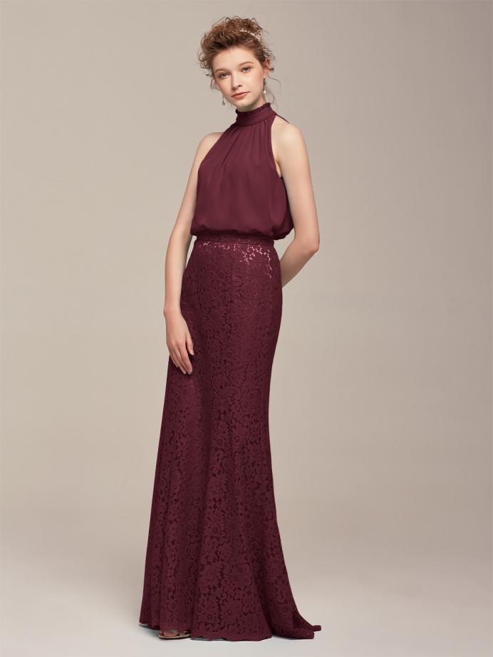 Alicepub Chiffon and Lace Formal Party Evening Dress Long Maxi Bridesmaid Dresses