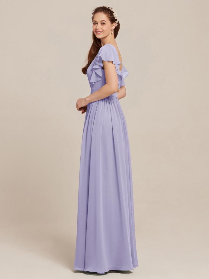 Alicepub Women's Vintage Flutter Sleeve Formal Evening Party Maxi Dresses Chiffon