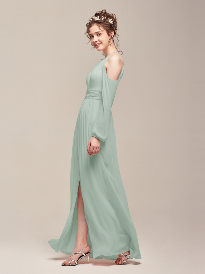 Alicepub Long Sleeve Cold Shoulder Chiffon Formal Evening Prom Gown
