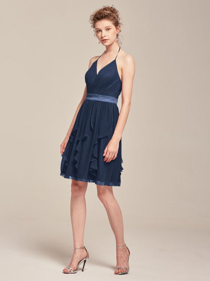 Alicepub Sexy Halter Chiffon Short Bridesmaid Dresses for Women Girl Special Occasion